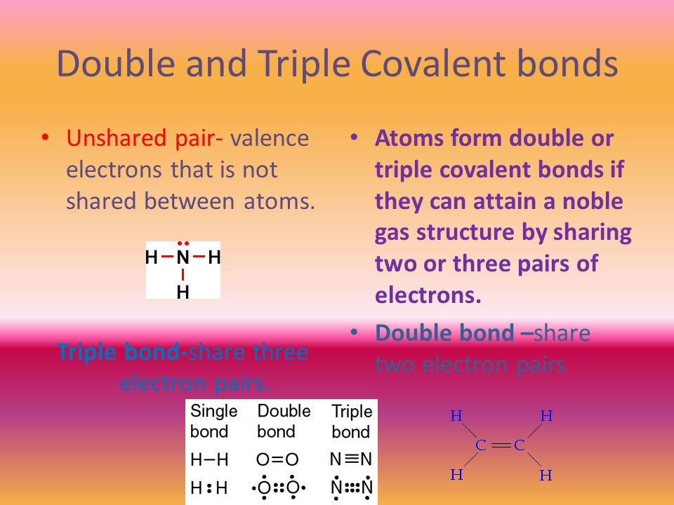 Double and Triple Covalent bonds Unshared pair- valence electrons that is not shared between atoms.