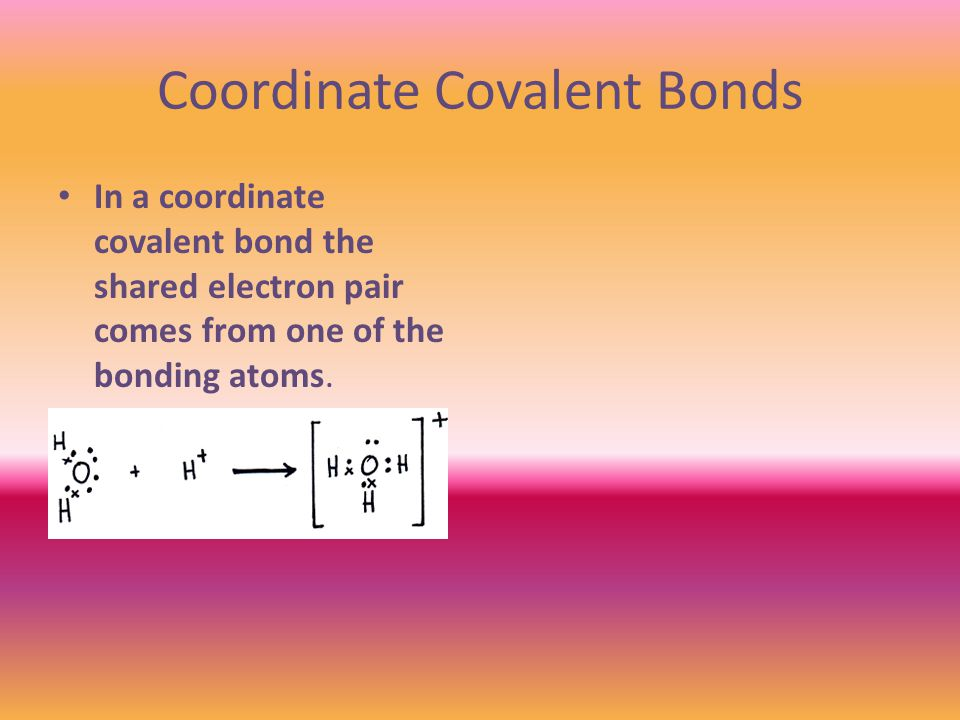 Coordinate Covalent Bonds In a coordinate covalent bond the shared electron pair comes from one of the bonding atoms.