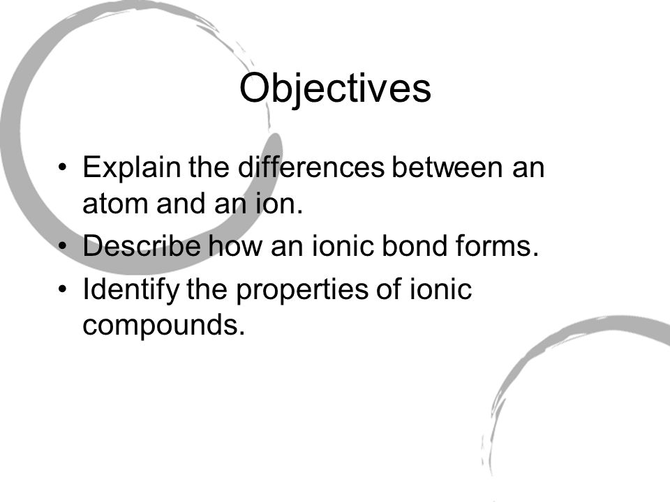 Objectives Explain the differences between an atom and an ion.