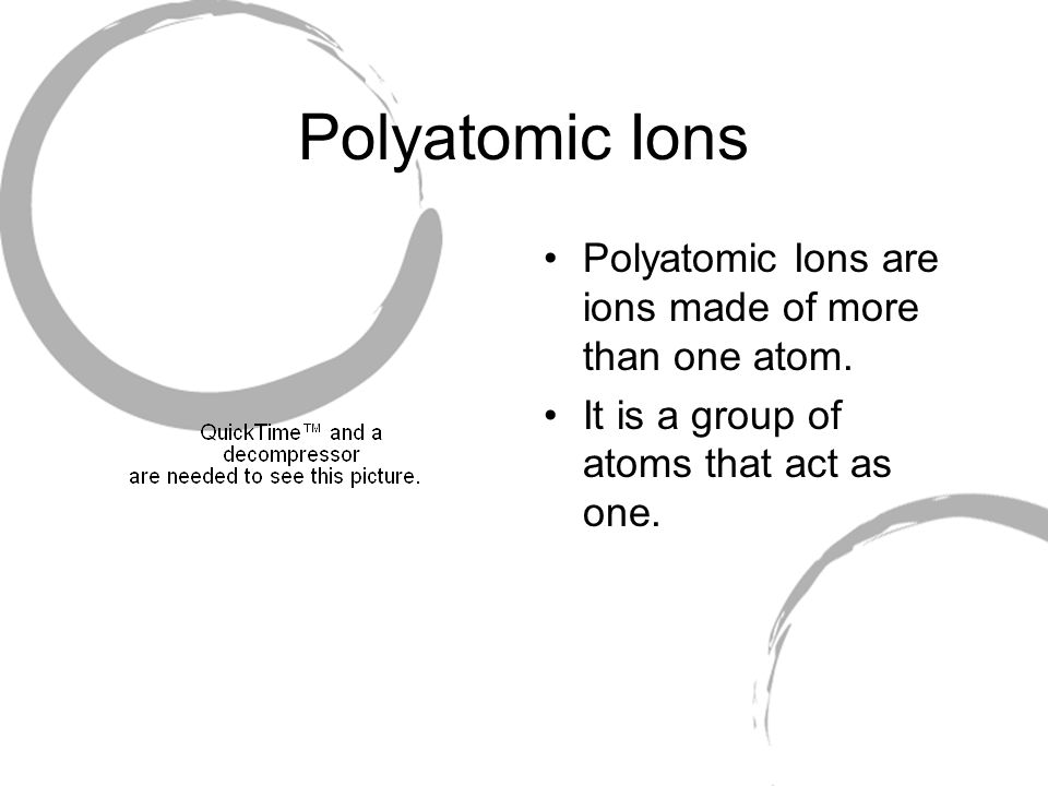 Polyatomic Ions Polyatomic Ions are ions made of more than one atom.