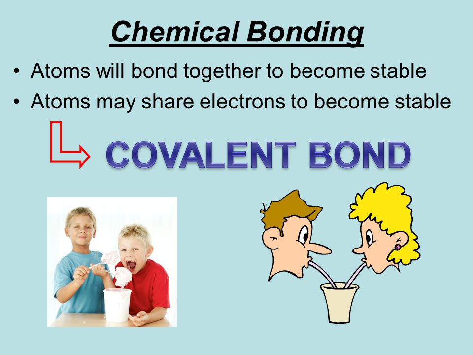 Chemical Bonding Atoms will bond together to become stable Atoms may share electrons to become stable