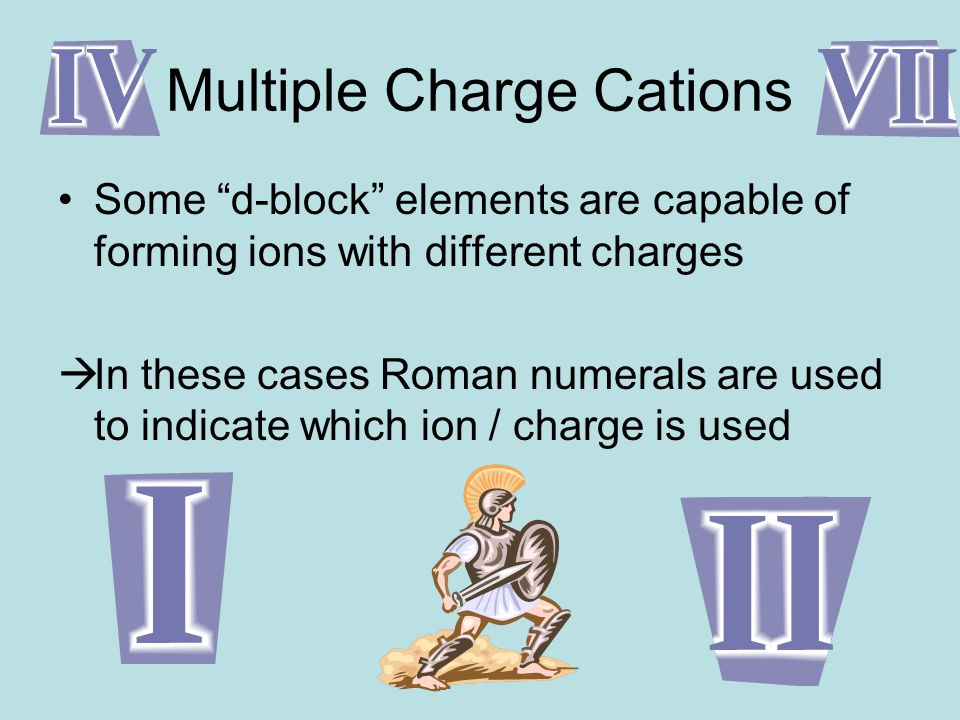 Multiple Charge Cations Some d-block elements are capable of forming ions with different charges  In these cases Roman numerals are used to indicate which ion / charge is used