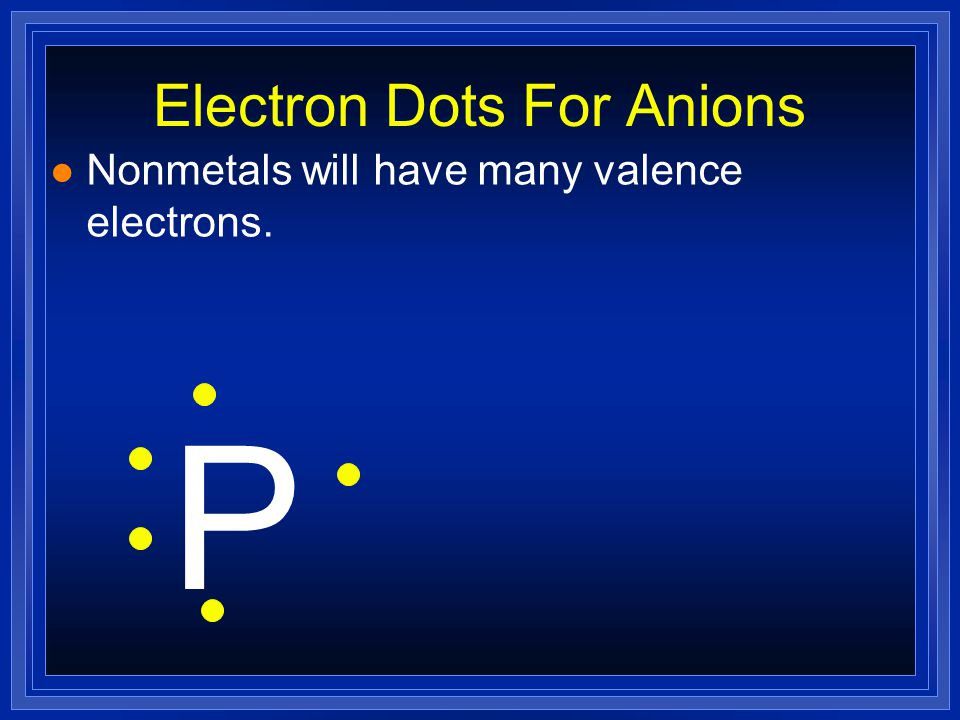 Electron Dots For Anions l Nonmetals will have many valence electrons. P