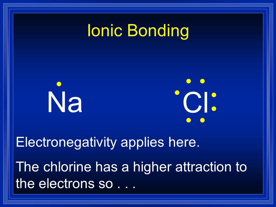 Ionic Bonding Na Cl Electronegativity applies here.