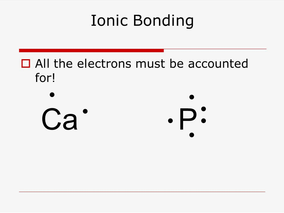Ionic Bonding  All the electrons must be accounted for! CaP