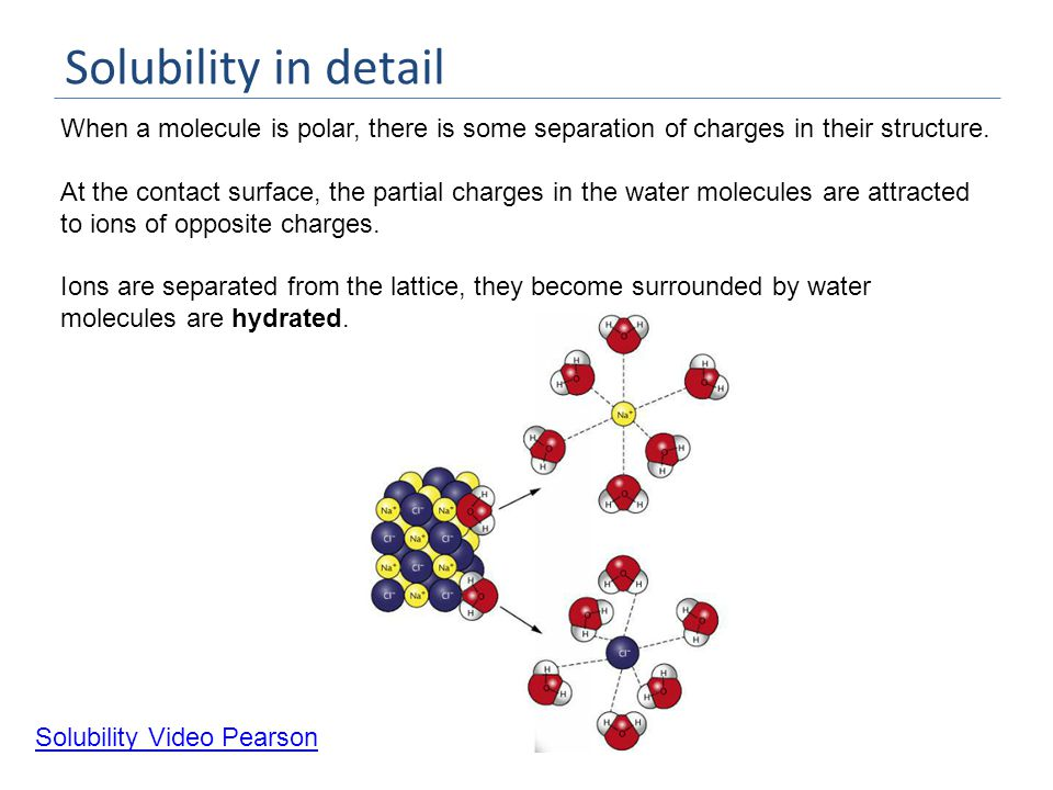 Solubility in detail When a molecule is polar, there is some separation of charges in their structure.