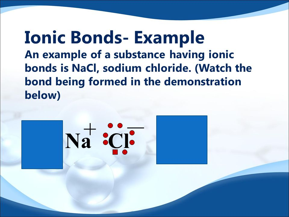 Ionic Bonds  Characterized by a transfer of electrons  When electrons are transferred between atoms ions are produced having opposite charges  The attraction of oppositely charged ions holds them together  This electrostatic attraction is the ionic bond