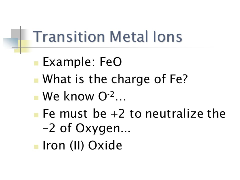 Transition Metal Ions Example: FeO What is the charge of Fe.
