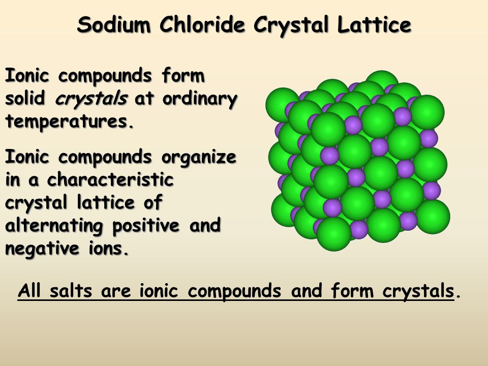 Sodium Chloride Crystal Lattice Ionic compounds form solid crystals at ordinary temperatures.
