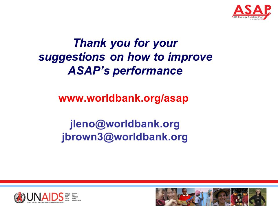 14 Thank you for your suggestions on how to improve ASAP's performance