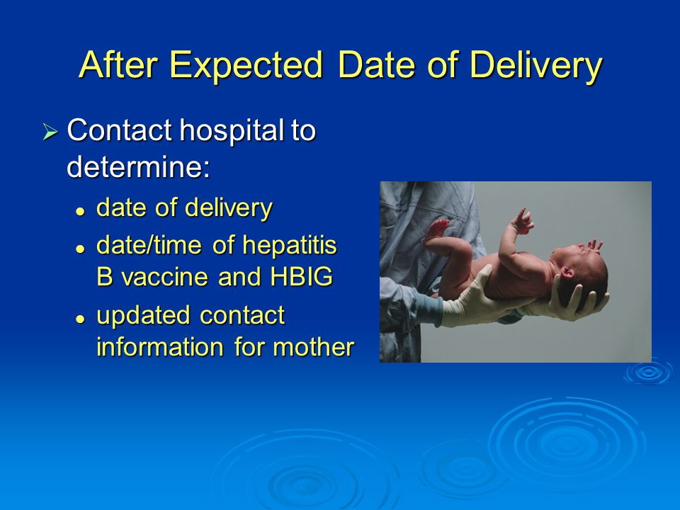 After Expected Date of Delivery  Contact hospital to determine: date of delivery date of delivery date/time of hepatitis B vaccine and HBIG date/time of hepatitis B vaccine and HBIG updated contact information for mother updated contact information for mother