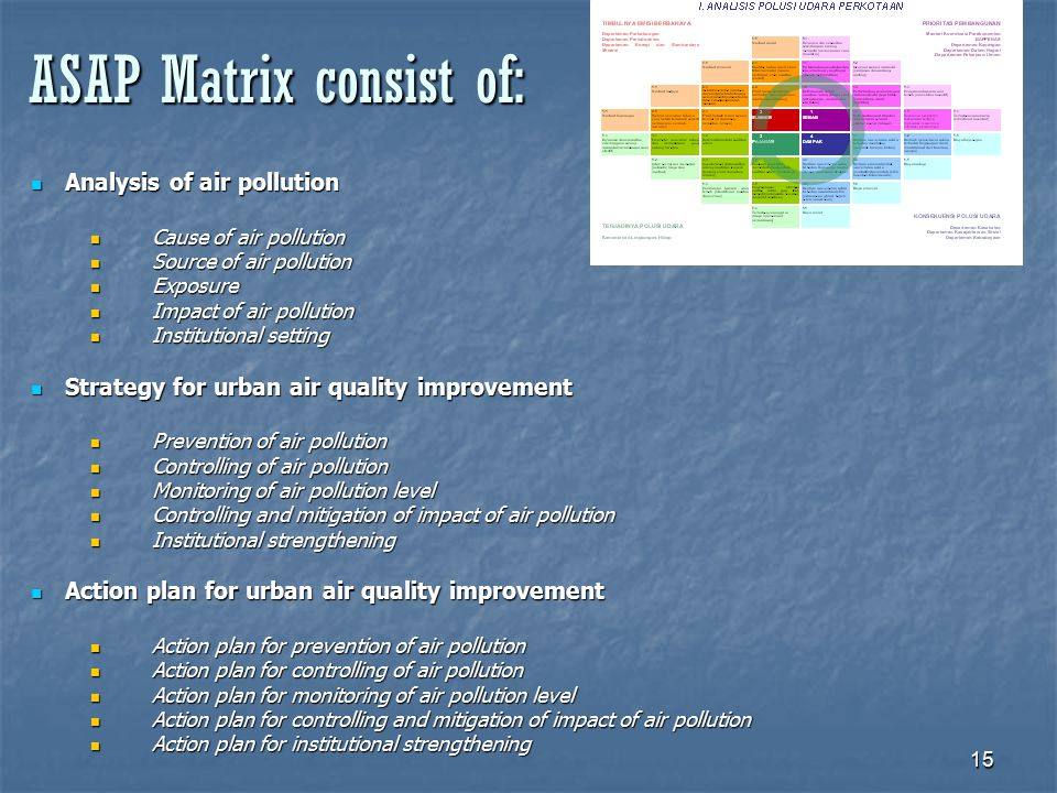 15 ASAP Matrix consist of: Analysis of air pollution Analysis of air pollution Cause of air pollution Cause of air pollution Source of air pollution Source of air pollution Exposure Exposure Impact of air pollution Impact of air pollution Institutional setting Institutional setting Strategy for urban air quality improvement Strategy for urban air quality improvement Prevention of air pollution Prevention of air pollution Controlling of air pollution Controlling of air pollution Monitoring of air pollution level Monitoring of air pollution level Controlling and mitigation of impact of air pollution Controlling and mitigation of impact of air pollution Institutional strengthening Institutional strengthening Action plan for urban air quality improvement Action plan for urban air quality improvement Action plan for prevention of air pollution Action plan for prevention of air pollution Action plan for controlling of air pollution Action plan for controlling of air pollution Action plan for monitoring of air pollution level Action plan for monitoring of air pollution level Action plan for controlling and mitigation of impact of air pollution Action plan for controlling and mitigation of impact of air pollution Action plan for institutional strengthening Action plan for institutional strengthening