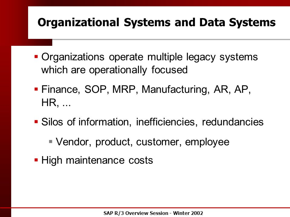 SAP R/3 Overview Session - Winter 2002 Organizational Systems and Data Systems  Organizations operate multiple legacy systems which are operationally focused  Finance, SOP, MRP, Manufacturing, AR, AP, HR,...