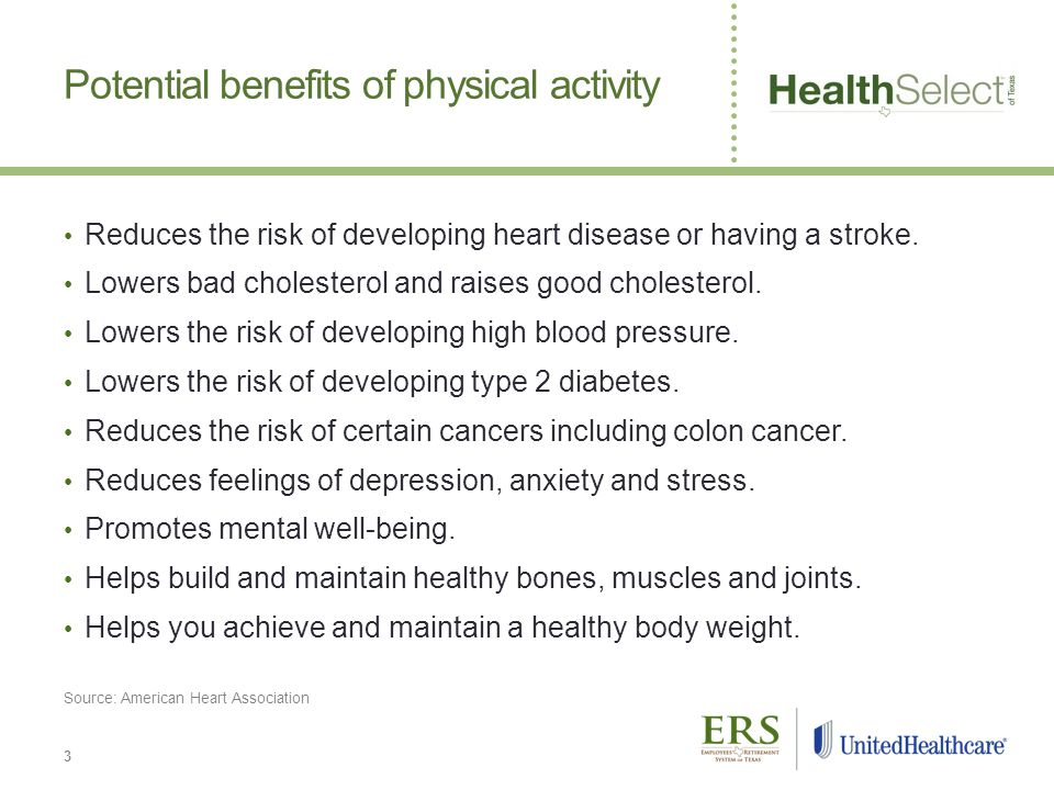 Potential benefits of physical activity Reduces the risk of developing heart disease or having a stroke.