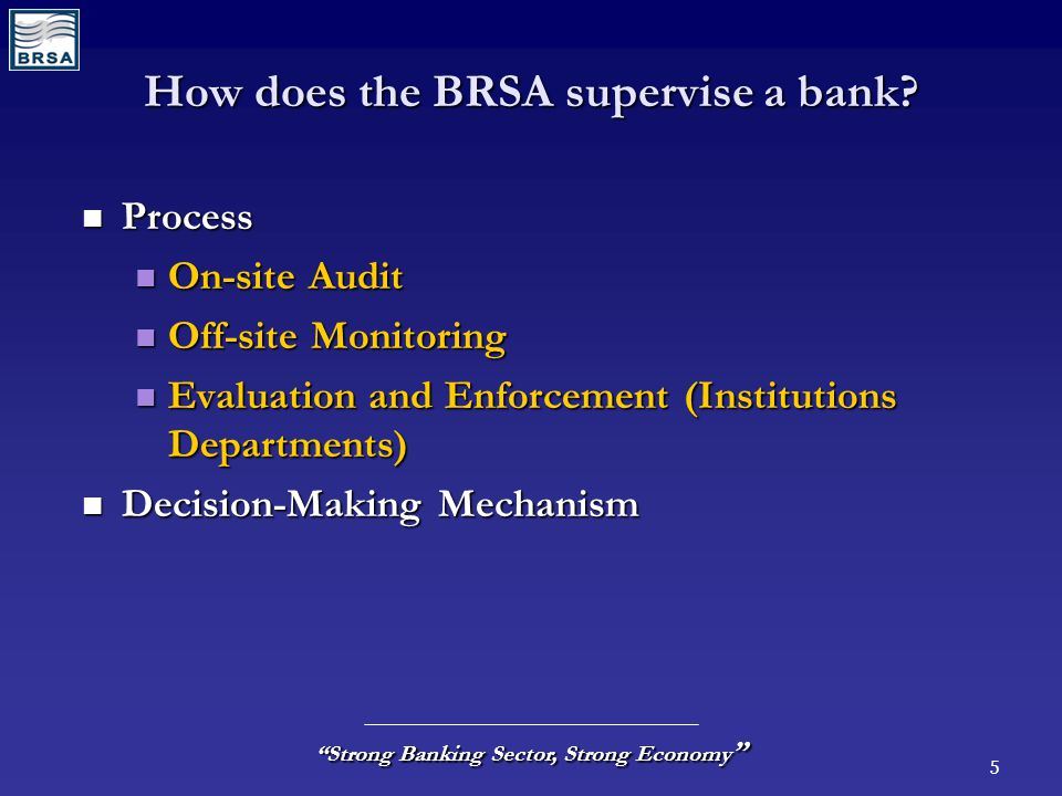 5 Strong Banking Sector, Strong Economy How does the BRSA supervise a bank.