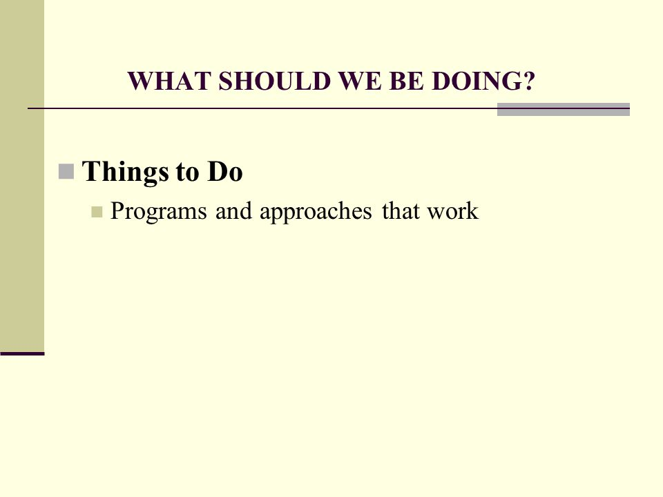 WHAT SHOULD WE BE DOING Things to Do Programs and approaches that work