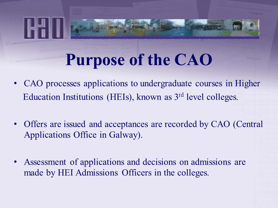 Purpose of the CAO CAO processes applications to undergraduate courses in Higher Education Institutions (HEIs), known as 3 rd level colleges.