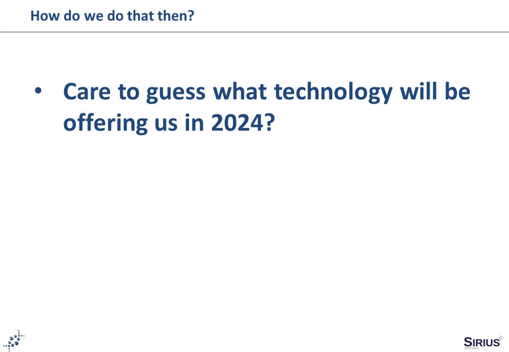 How do we do that then Care to guess what technology will be offering us in 2024