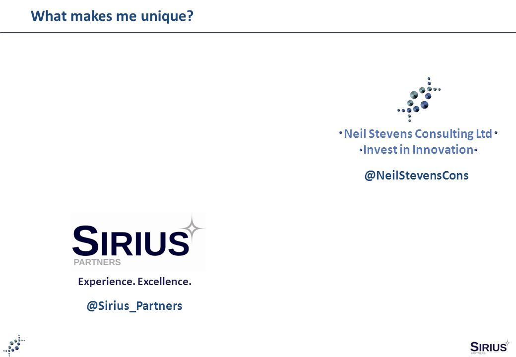 Neil Stevens Consulting Ltd Invest in Innovation Experience.