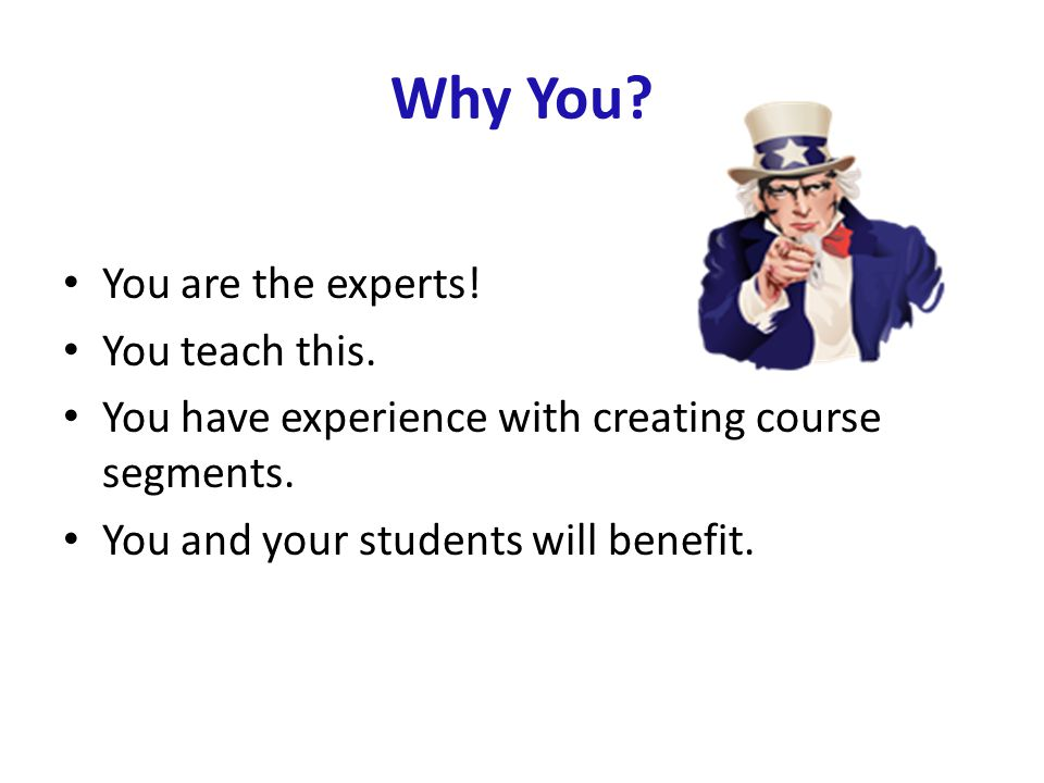 Why You. You are the experts. You teach this. You have experience with creating course segments.