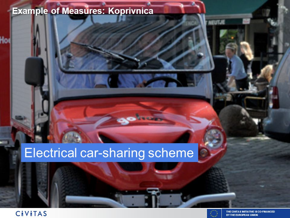 THE CIVITAS INITIATIVE IS CO-FINANCED BY THE EUROPEAN UNION Electrical car-sharing scheme Example of Measures: Koprivnica