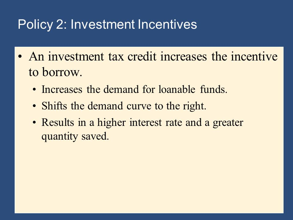 Policy 2: Investment Incentives An investment tax credit increases the incentive to borrow.