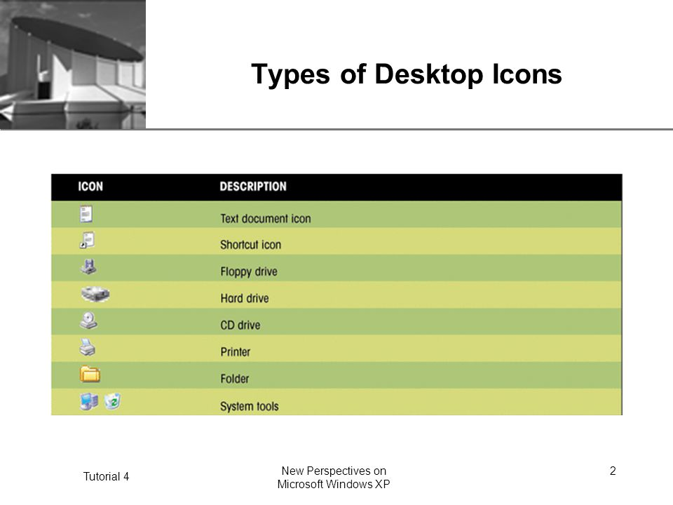 XP Tutorial 4 New Perspectives on Microsoft Windows XP 2 Types of Desktop Icons