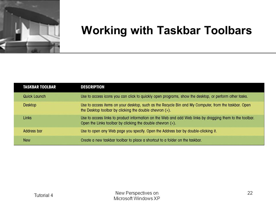 XP Tutorial 4 New Perspectives on Microsoft Windows XP 22 Working with Taskbar Toolbars
