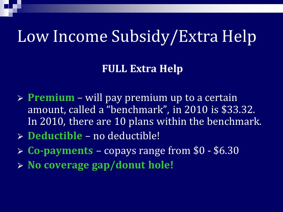 Low Income Subsidy/ Extra Help A federal subsidy that helps low income Medicare beneficiaries pay for costs related to Part D coverage.