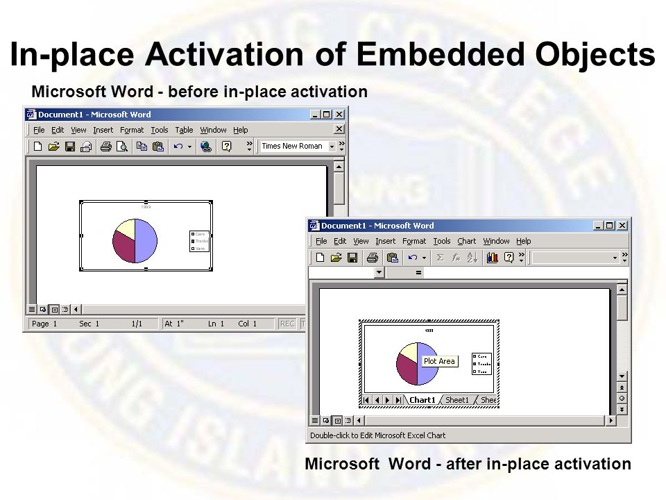 In-place Activation of Embedded Objects Microsoft Word - before in-place activation Microsoft Word - after in-place activation