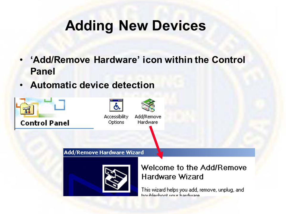 Adding New Devices 'Add/Remove Hardware' icon within the Control Panel Automatic device detection