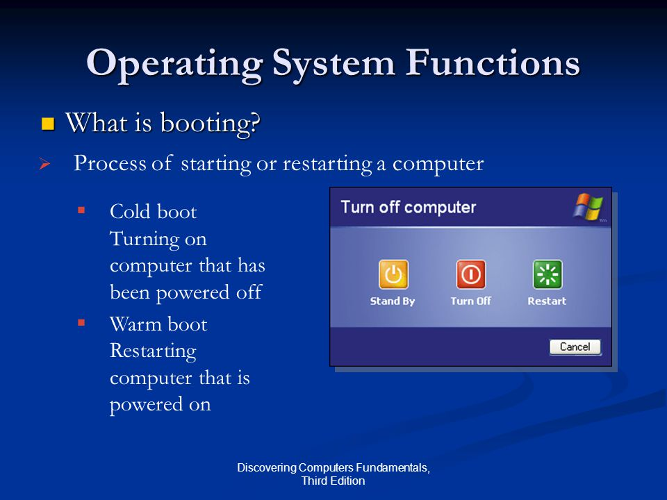 Discovering Computers Fundamentals, Third Edition Operating System Functions What is booting.