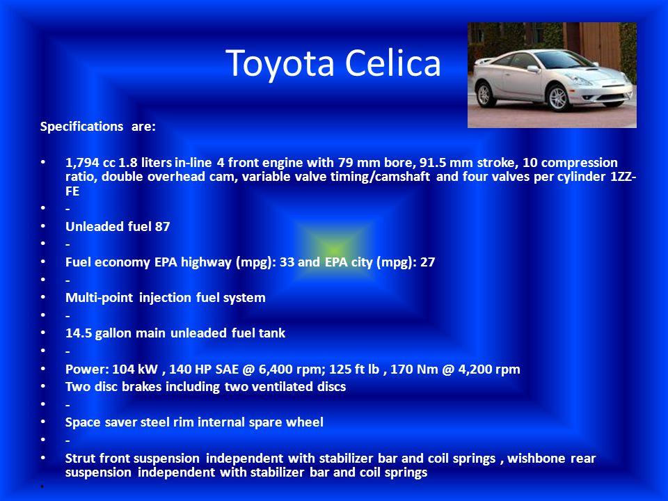 Toyota Celica VS Mitsubishi Eclipse I am conducting research