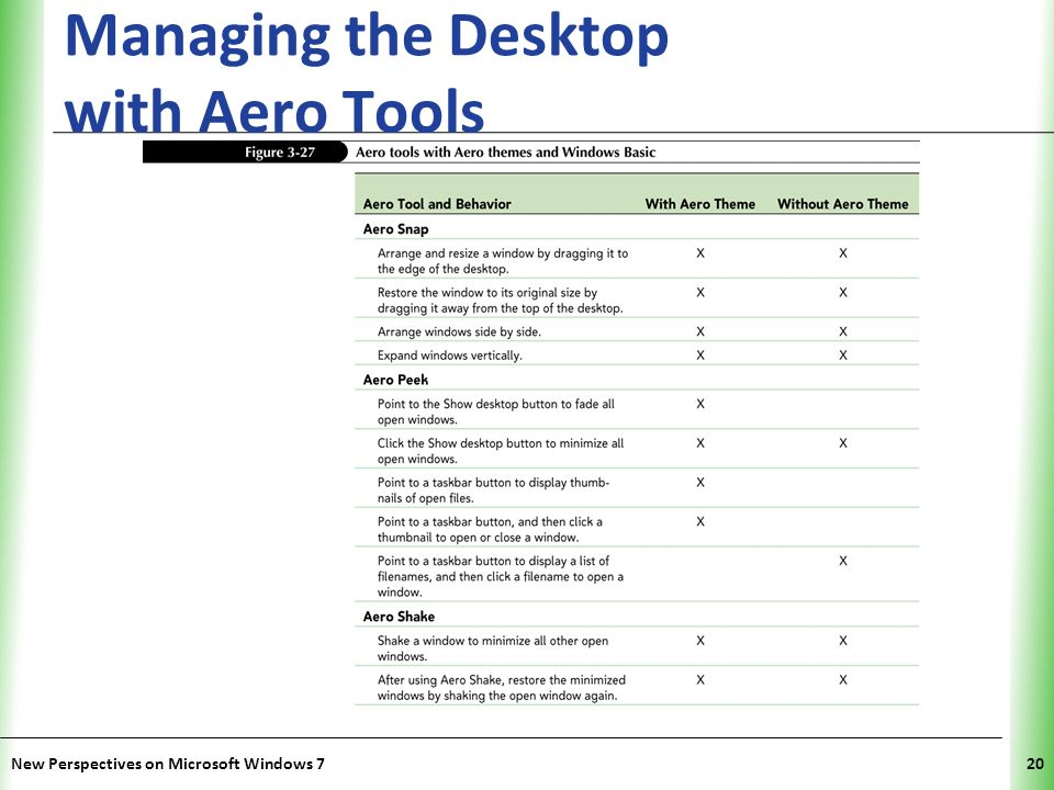 XP Managing the Desktop with Aero Tools New Perspectives on Microsoft Windows 720