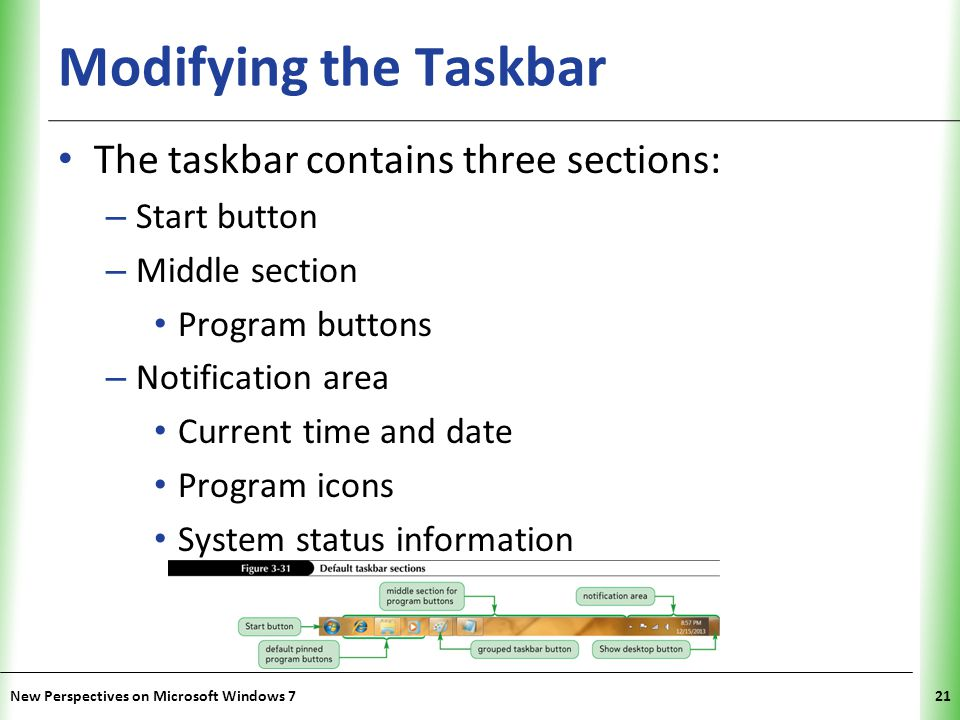 XP Modifying the Taskbar The taskbar contains three sections: – Start button – Middle section Program buttons – Notification area Current time and date Program icons System status information New Perspectives on Microsoft Windows 721