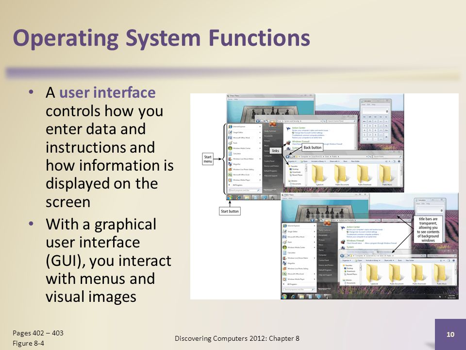 Operating System Functions A user interface controls how you enter data and instructions and how information is displayed on the screen With a graphical user interface (GUI), you interact with menus and visual images Discovering Computers 2012: Chapter 8 10 Pages 402 – 403 Figure 8-4