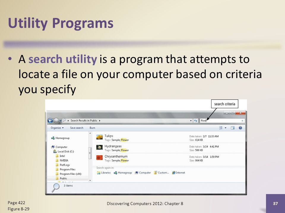Utility Programs A search utility is a program that attempts to locate a file on your computer based on criteria you specify Discovering Computers 2012: Chapter 8 37 Page 422 Figure 8-29