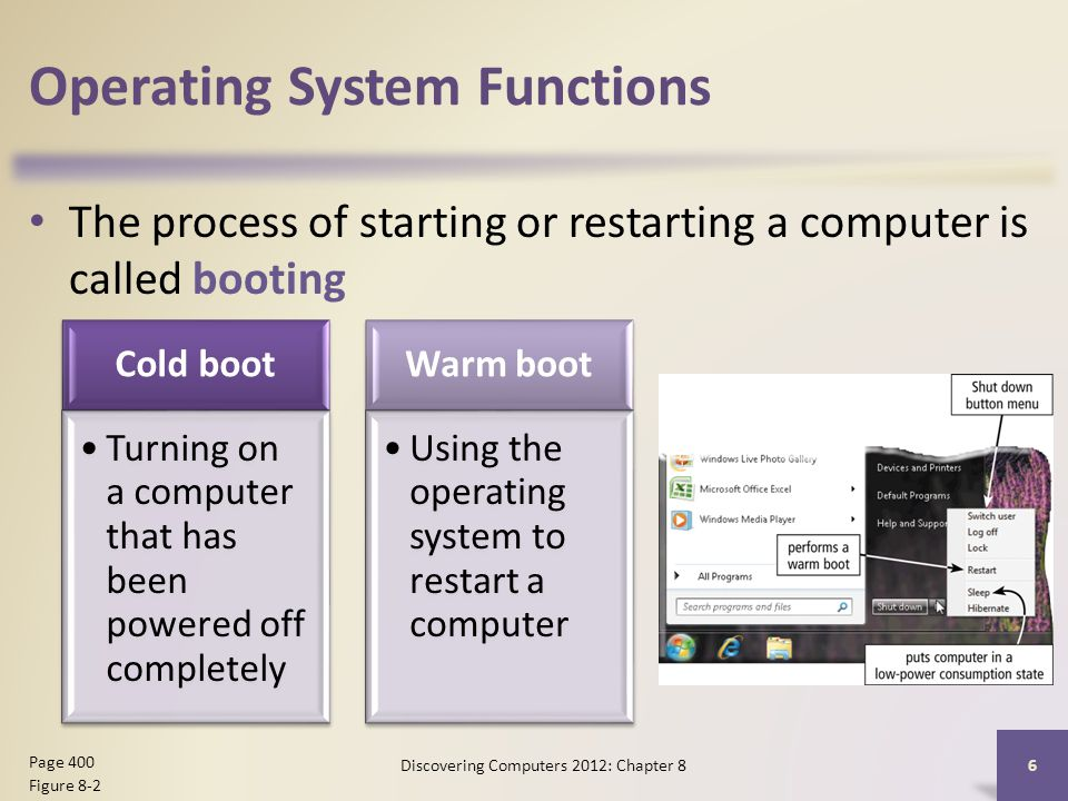Operating System Functions The process of starting or restarting a computer is called booting Discovering Computers 2012: Chapter 8 6 Page 400 Figure 8-2 Cold boot Turning on a computer that has been powered off completely Warm boot Using the operating system to restart a computer