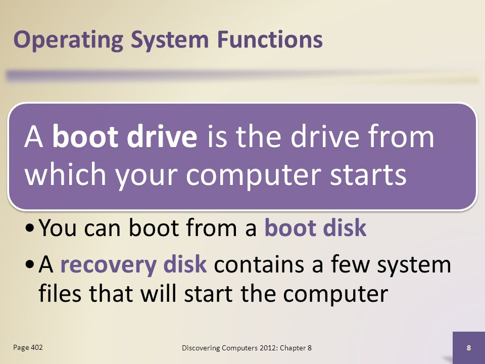 Operating System Functions A boot drive is the drive from which your computer starts You can boot from a boot disk A recovery disk contains a few system files that will start the computer Discovering Computers 2012: Chapter 8 8 Page 402