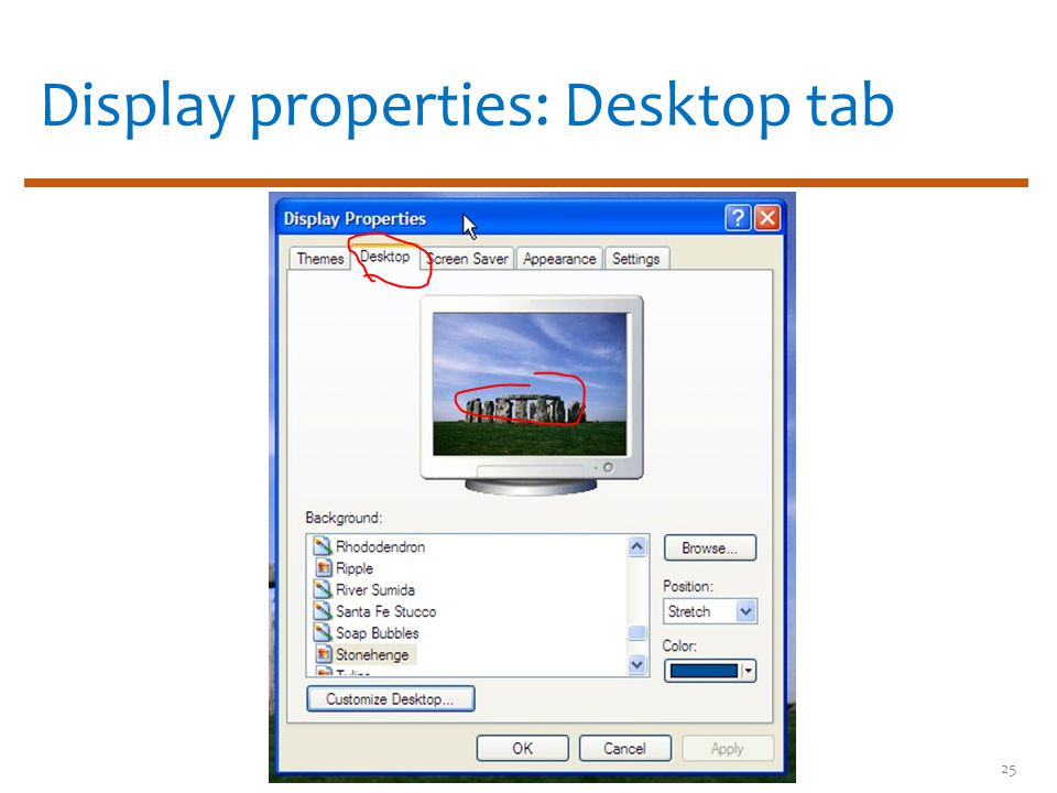 Display properties: Desktop tab 25