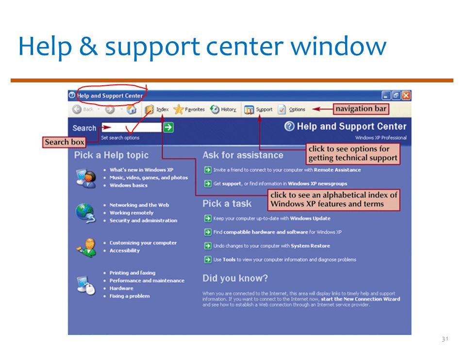 Help & support center window 31