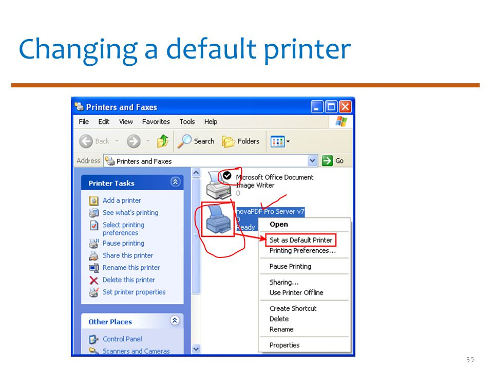 Changing a default printer 35