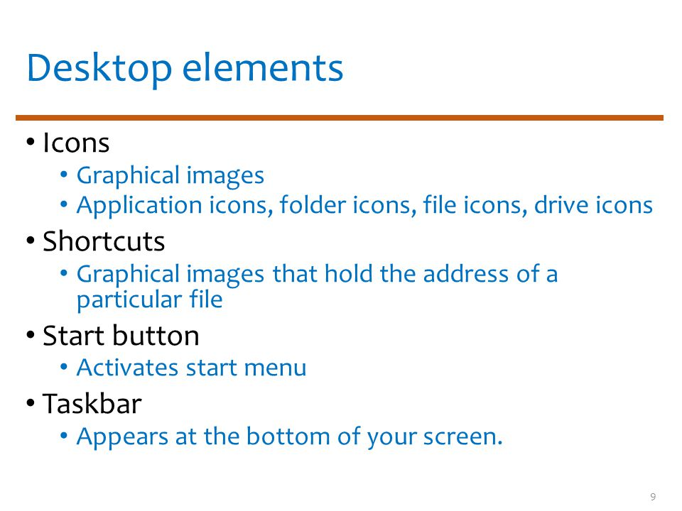 Desktop elements Icons Graphical images Application icons, folder icons, file icons, drive icons Shortcuts Graphical images that hold the address of a particular file Start button Activates start menu Taskbar Appears at the bottom of your screen.