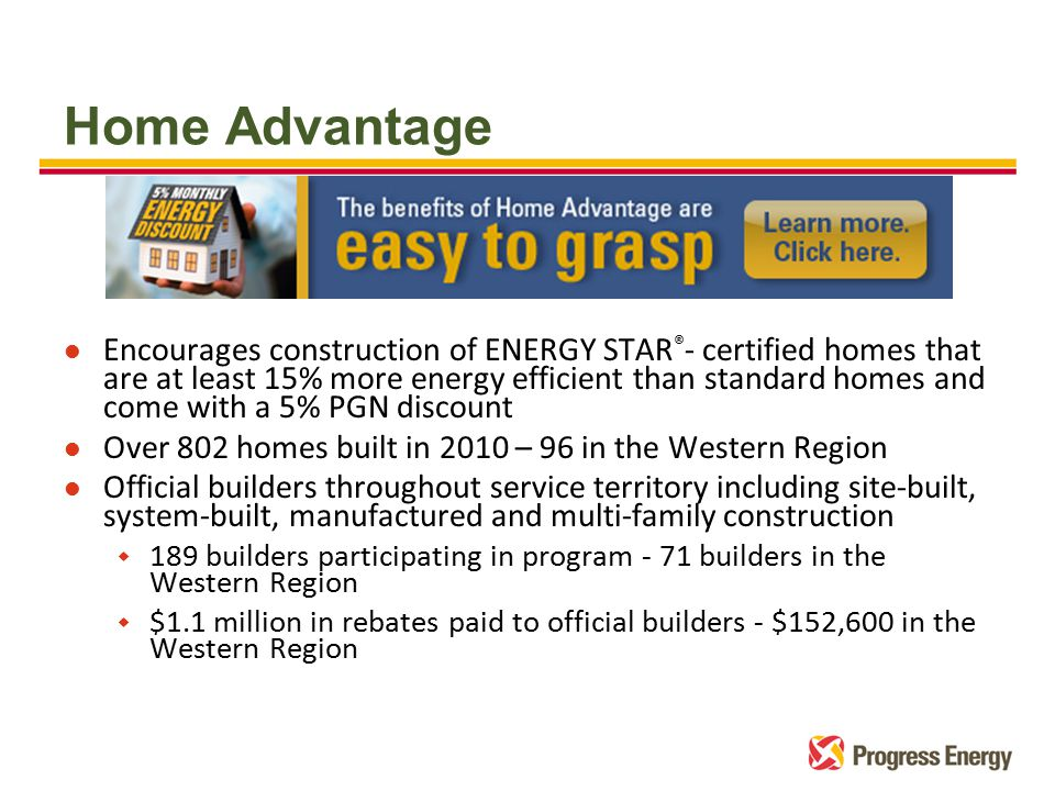 Home Advantage l Encourages construction of ENERGY STAR ® - certified homes that are at least 15% more energy efficient than standard homes and come with a 5% PGN discount l Over 802 homes built in 2010 – 96 in the Western Region l Official builders throughout service territory including site-built, system-built, manufactured and multi-family construction w 189 builders participating in program - 71 builders in the Western Region w $1.1 million in rebates paid to official builders - $152,600 in the Western Region