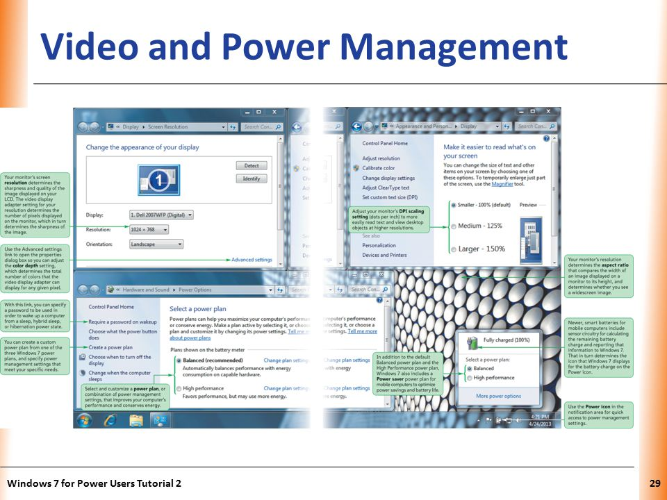 XP Video and Power Management Windows 7 for Power Users Tutorial 229