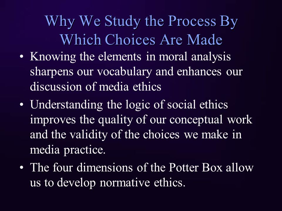 example of potter box analysis