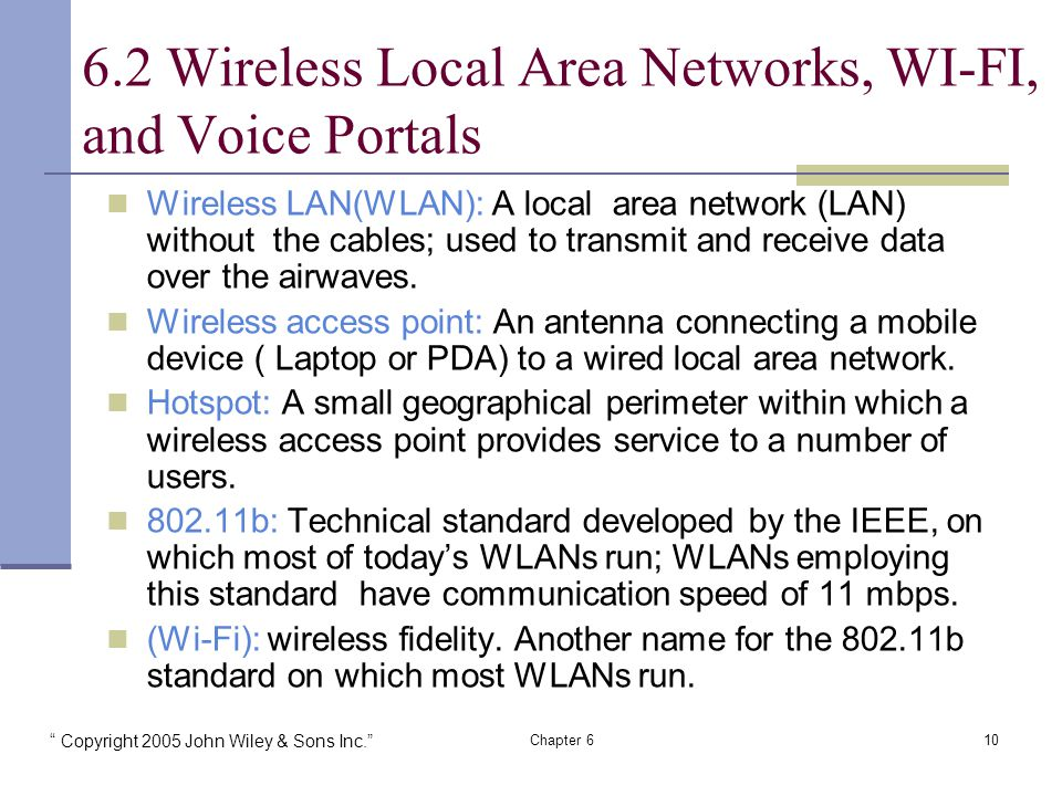Copyright 2005 John Wiley & Sons Inc. Chapter 610 Wireless LAN(WLAN): A local area network (LAN) without the cables; used to transmit and receive data over the airwaves.