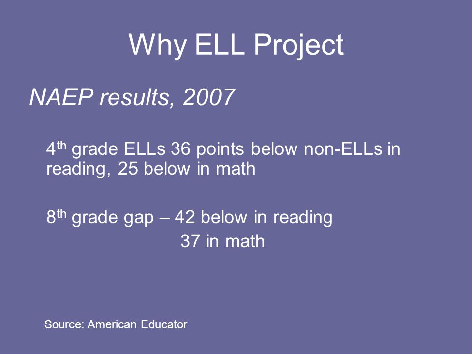 Why ELL Project NAEP results, th grade ELLs 36 points below non-ELLs in reading, 25 below in math 8 th grade gap – 42 below in reading 37 in math Source: American Educator