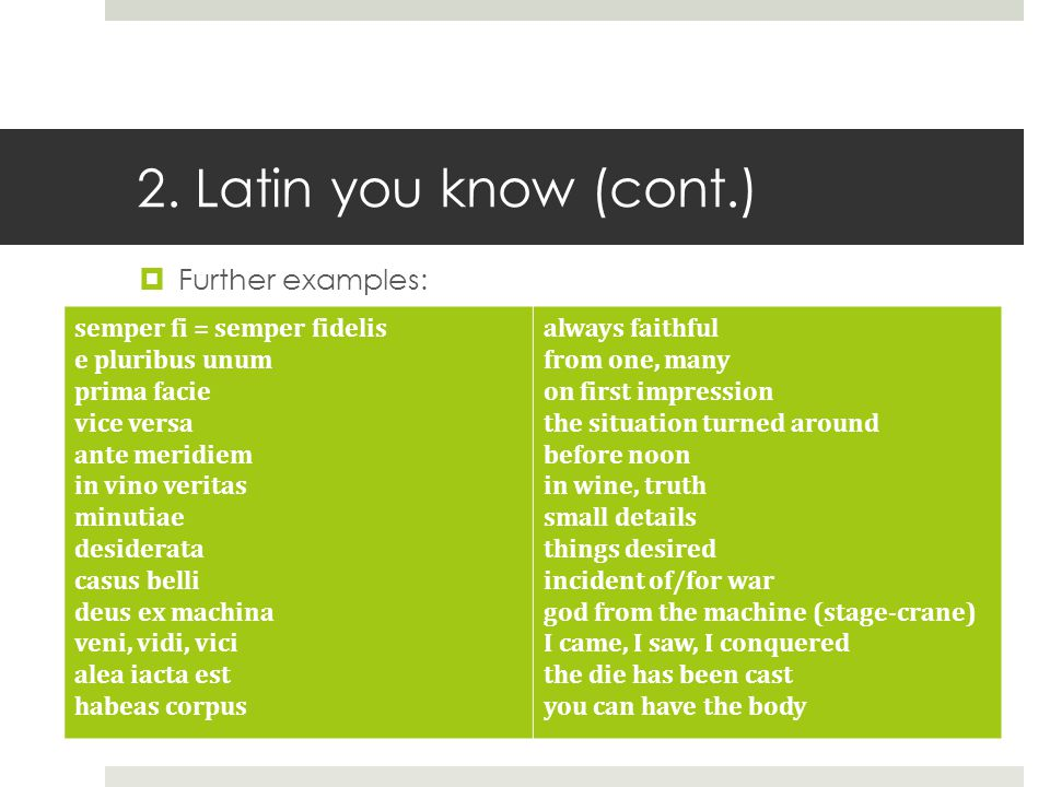 Welcome to Latin Why learn Latin? 2 Latin you know  - ppt