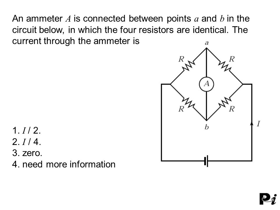 An ammeter A is connected between points a and b in the circuit below, in which the four resistors are identical.